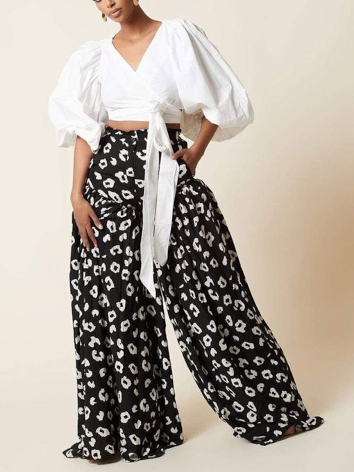 Casual Patchwork Pants Geometric Bellbottoms Women's Two Piece Sets