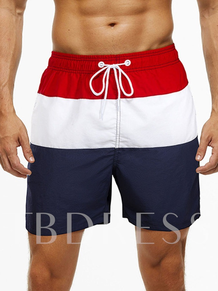 Straight Color Block Lace-Up Casual Men's Shorts