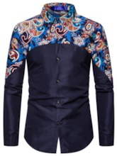 Button Floral Casual Slim Single-Breasted Men's Shirt