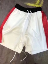 Color Block Lace-Up Straight Summer Men's Shorts