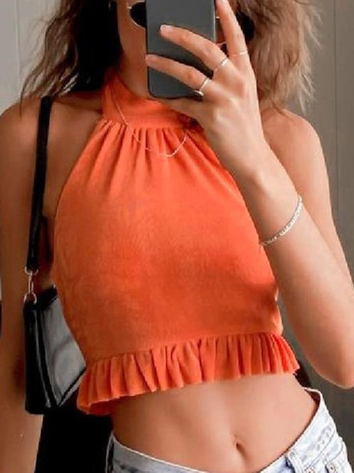 Lace-Up Summer Polyester Halter Short Women's Tank Top