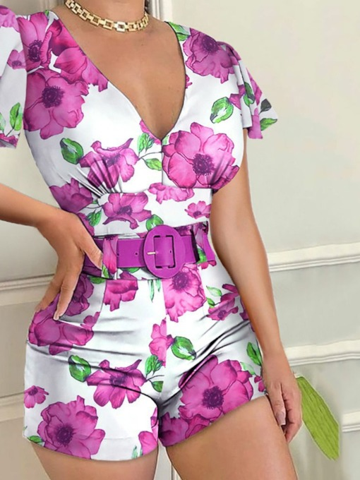 Shorts Office Lady Print Floral Straight Women's Jumpsuit