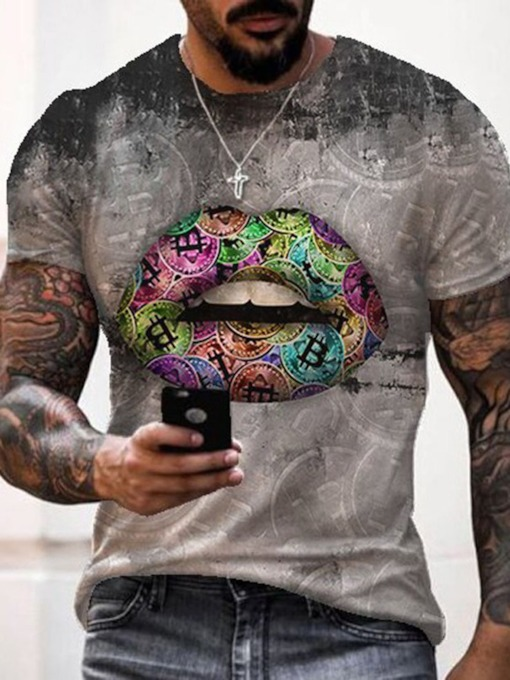 Print Casual Round Neck Pullover Summer Men's T-shirt