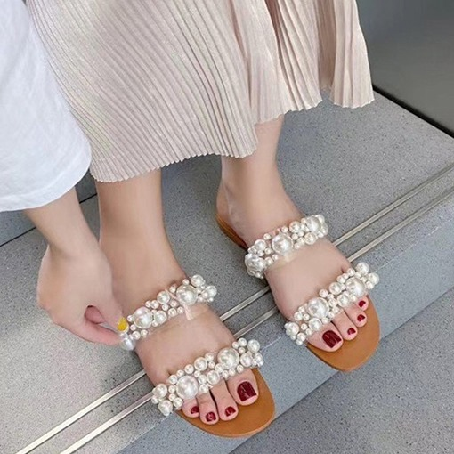 Slip-On Beads Flip Flop Flat With Casual Slippers
