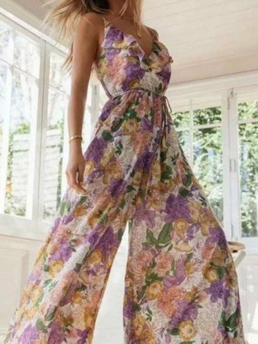 Floral Print Office Lady Full Length Slim Women's Jumpsuit