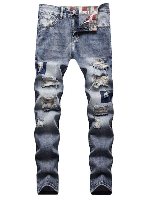 Casual Hole Straight Zipper Pockets Slim Men's Jeans