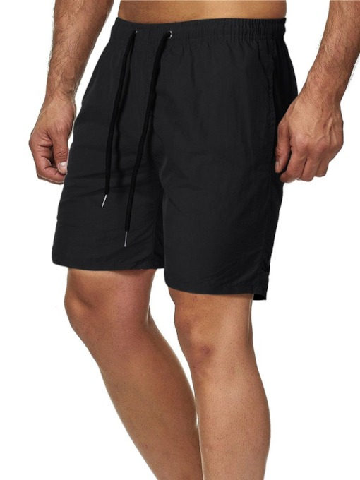 Straight Plain Lace-Up Micro-Elastic Men's Shorts