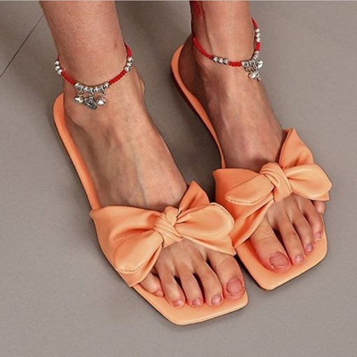 Candy Color Flip Flop Slip-On Flat With Casual Slippers