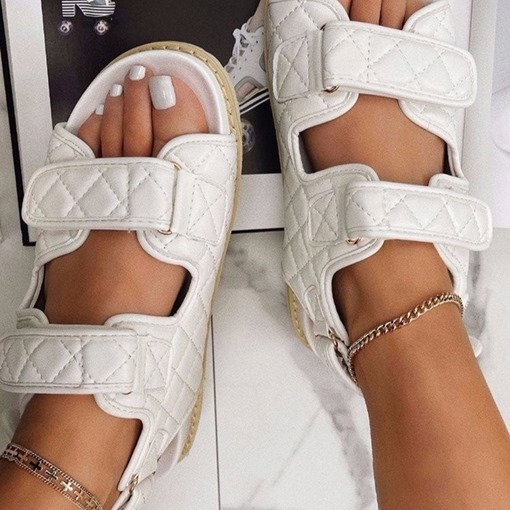 Velcro Flat With Open Toe Plain Sandals