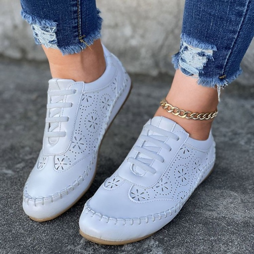 Low-Cut Upper Hollow Lace-Up Round Toe Western Sneakers