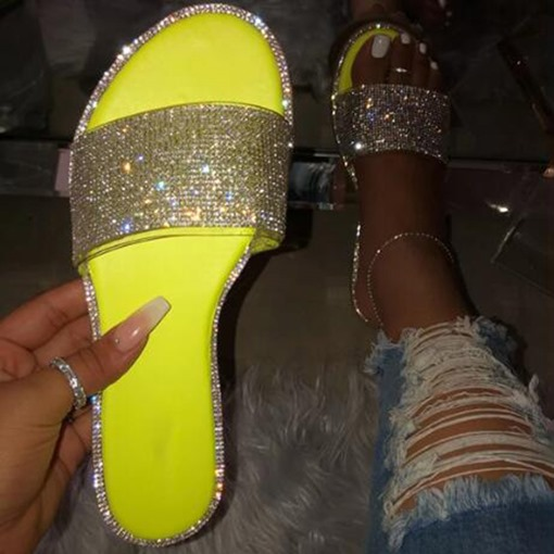 Flip Flop Sequin Flat With Slip-On Casual Slippers
