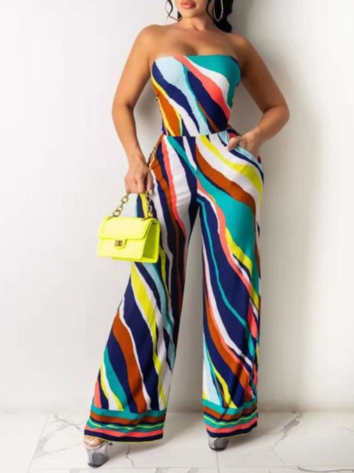 Office Lady Stripe Full Length Backless Straight Women's Jumpsuit