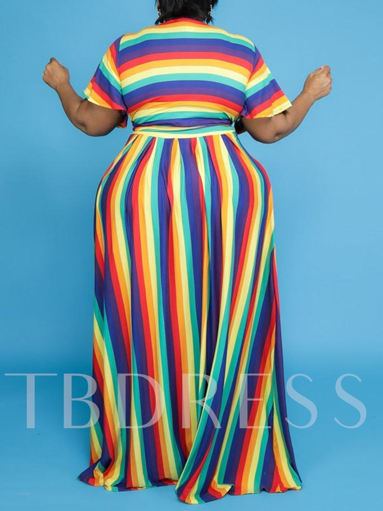 Plus SIze Skirt Casual Stripe Expansion Women's Two Piece Sets