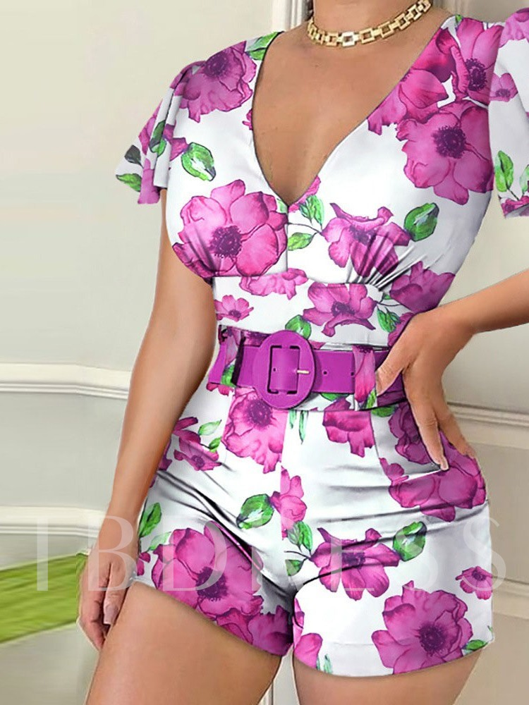 Shorts Office Lady Print Floral Straight Women's Rompers