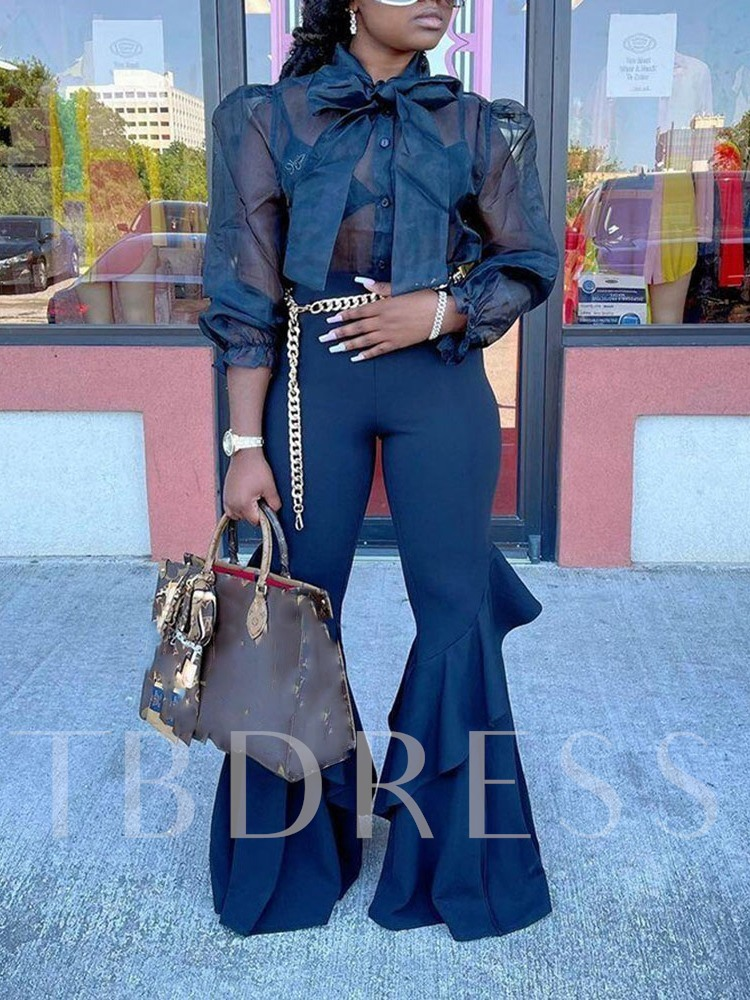 Shirt Plain Office Lady See-Through Women's Two Piece Sets
