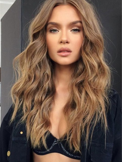 Women's Middle Parted Loose Wavy Human Hair Capless 120% 22 Inches Wigs