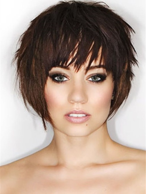 Pixie Short Haircuts Synthetic Natutal Straight Hair Capless 130% 10 Inches Wigs