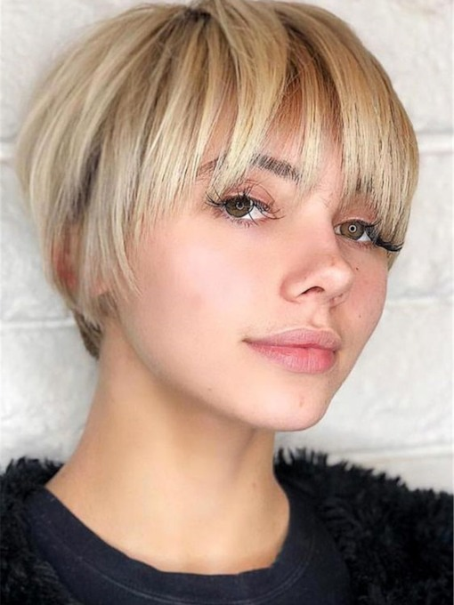 Short Cut Bob Hairstyles Natural Straight Synthetic Hair Capless Wigs With Bangs 130% 10 Inches Wigs