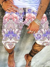 Straight Print Floral Lace-Up Men's Beach Shorts