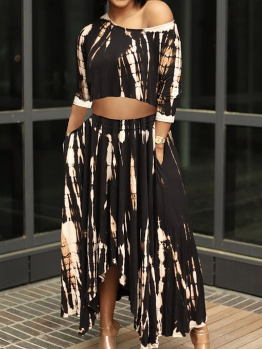 Print Office Lady Skirt Pullover Women's Two Piece Sets