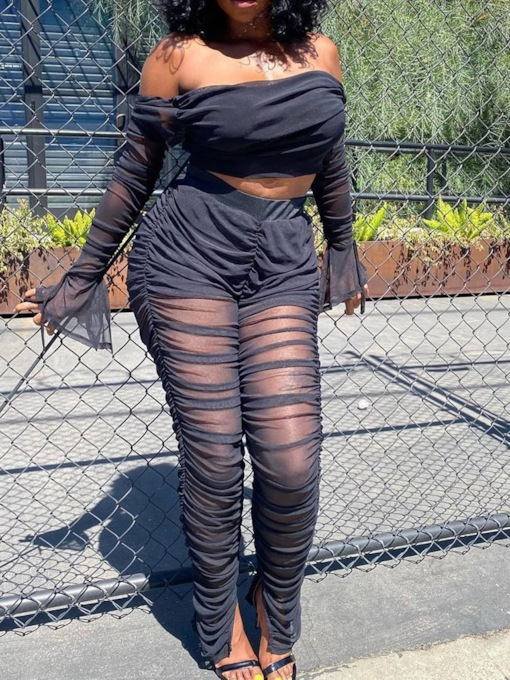 Plain See-Through Pants Sexy Off Shoulder Women's Two Piece Sets