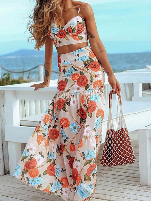 Floral Fashion Skirt Patchwork Women's Two Piece Sets
