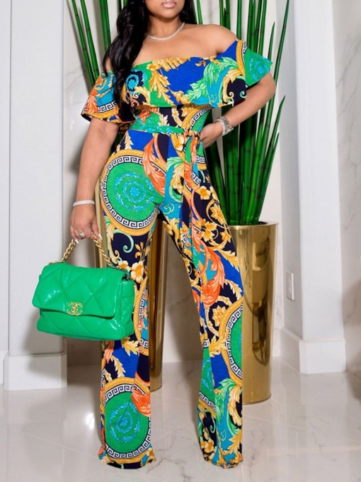 Print Full Length Floral Office Lady Straight Slim Women's Jumpsuit