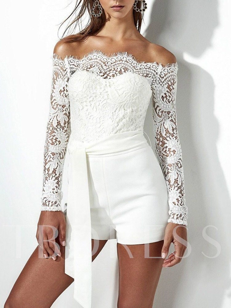 Fashion Shorts Lace Plain Straight Women's Rompers