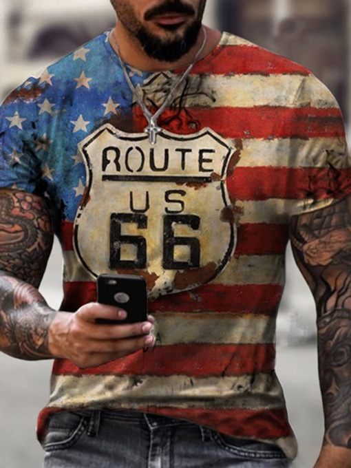 Print Casual Round Neck Pullover Loose Summer Men's T-shirt