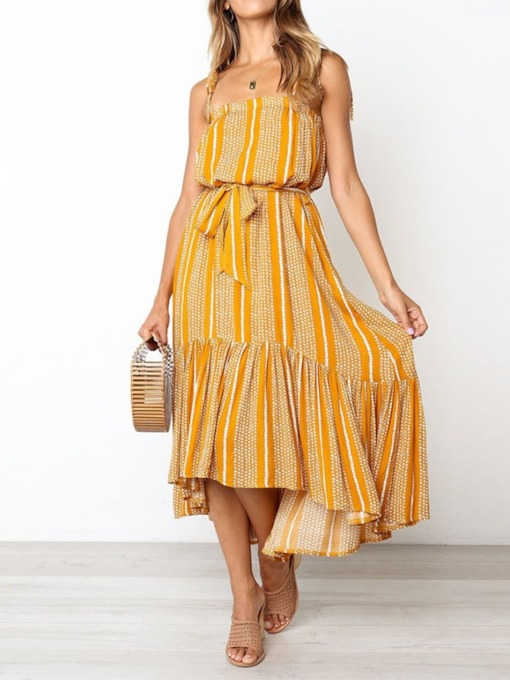 Lace-Up Square Neck Sleeveless Ankle-Length Pullover Women's Dress