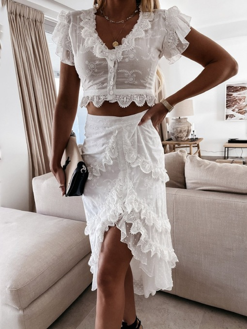 Plain Fashion Skirt Single-Breasted Women's Two Piece Sets