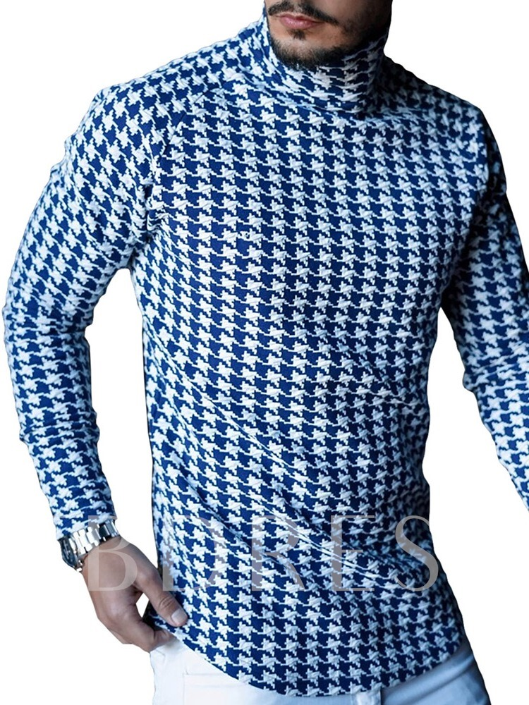 Casual Houndstooth Slim Long Sleeves Fall Men's T-shirt