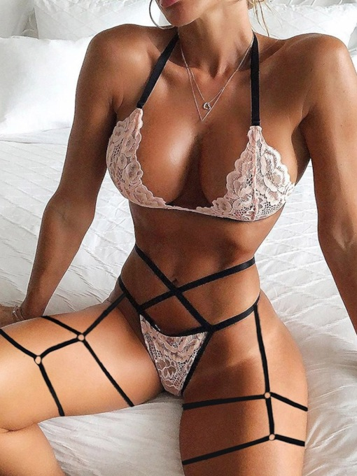 Lace Three-Point Color Block Spandex Sexy Bra Sets