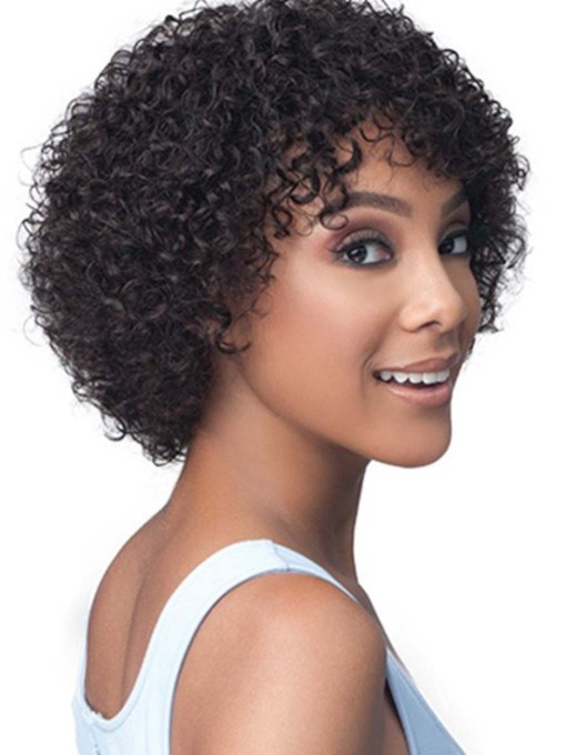 African American Women's Kinky Curly 100% Human Hair Capless Wigs With Bangs 12 Inches 120% Wigs