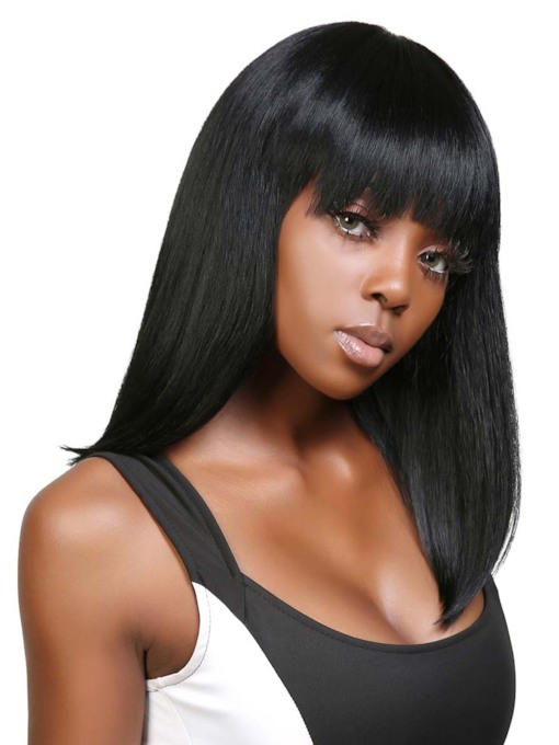 African American Women's Medium Hairstyle Straight 100% Human Hair Capless Wigs With Bangs 120% 18 Inches Wigs