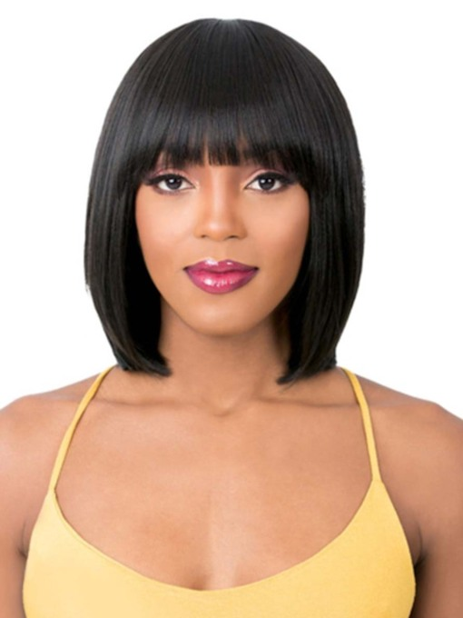 Women's Short Straight Bob Hairstyles Human Hair Wigs With Bangs Capless 120% 14 Inches Wigs