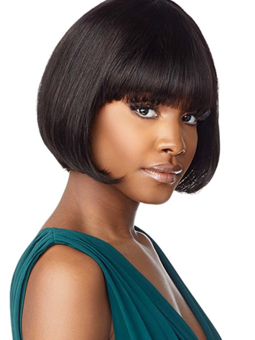 Short Bob Hairstyles African American Women's Bob Style Straight Inches 120% Human Hair Wigs