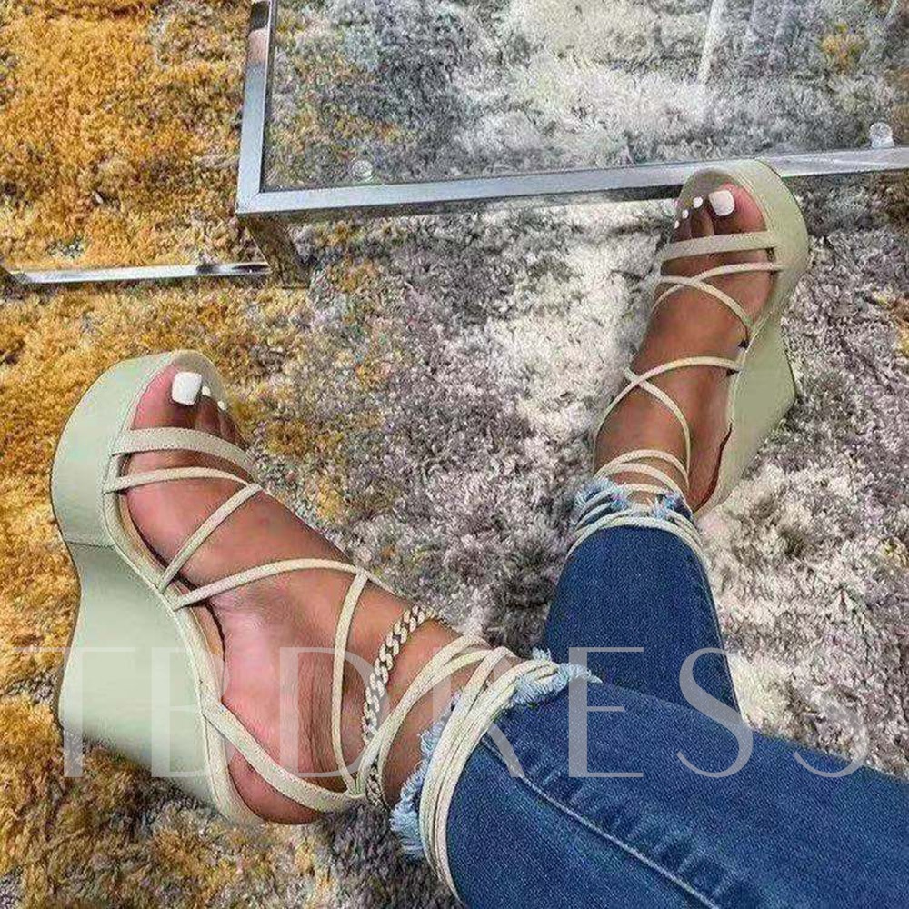Open Toe Wedge Heel Lace-Up Casual Sandals