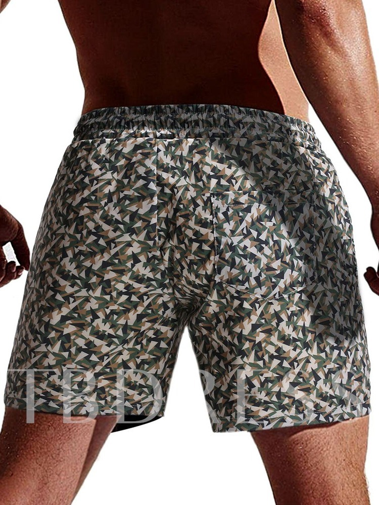 Lace-Up Camouflage Straight Men's Beach Shorts