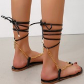 Flat With Lace-Up Thong Professional Sandals