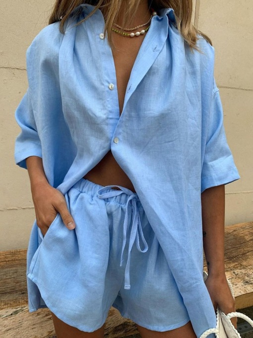 Plain Office Lady Button Shirt Straight Women's Two Piece Sets