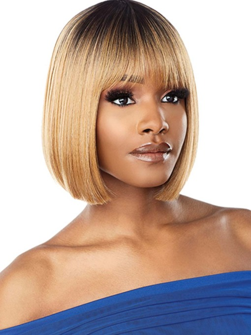 African American Women's Short Bob Style Straight Synthetic Hair Capless 12 Inches 130% Wigs