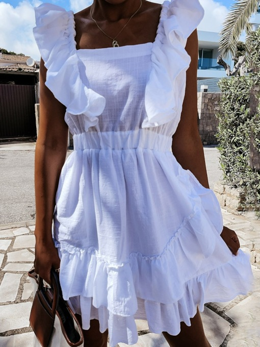 Patchwork Short Sleeve Above Knee Square Neck Fashion Women's Dress