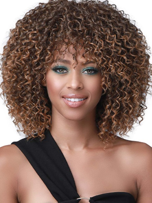 African American Women's Medium Hairstyles Kinky Curly Synthetic Hair Capless Wigs 130% 16 Inches Wigs