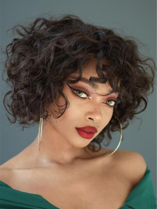 Medium Hairstyle Kinky Curly 100% Human Hair Capless Wigs With Bangs 12 Inches 120% Wigs For African American Women