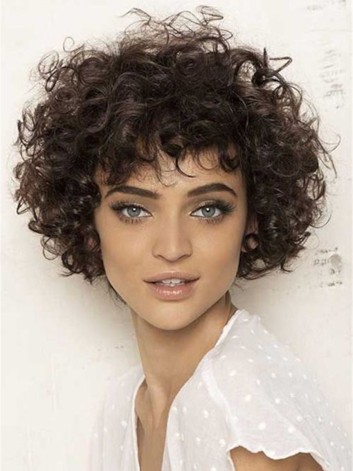 African American Women's Kinky Curly Hairstyle Human Hair Capless Wigs With Bangs 120% 10 Inches Wigs