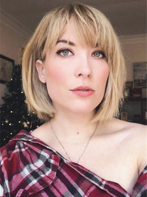 Short Bob Hairstyles Straight Synthetic Hair Capless 14 Inches 130% Wigs