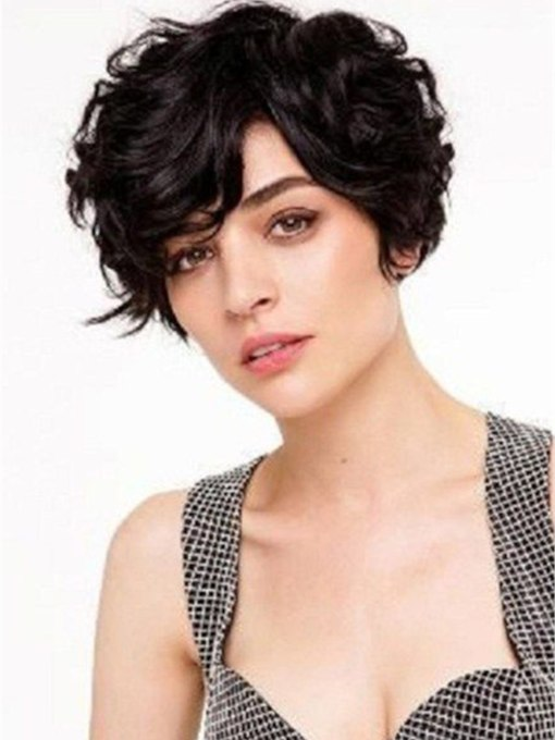 Short Haircut For Thick Hair Wavy Synthetic Hair Capless 130% 10 Inches Wigs