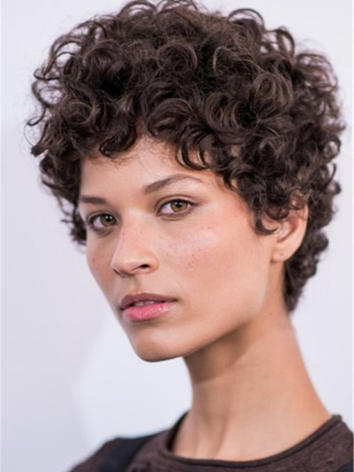 Women's Short Kinky Curly Hairstyles Synthetic Hair Capless 130% 8 Inches Wigs