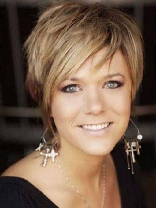 Short Layered Pixie Haircut Nature Straight Synthetic Hair Capless 130% 10 Inches Wigs